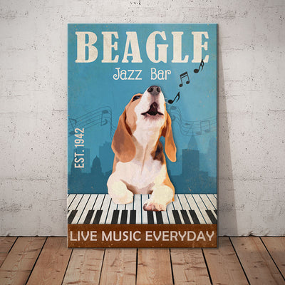 Beagle Dog Jazz Bar Canvas MR0303 95O58