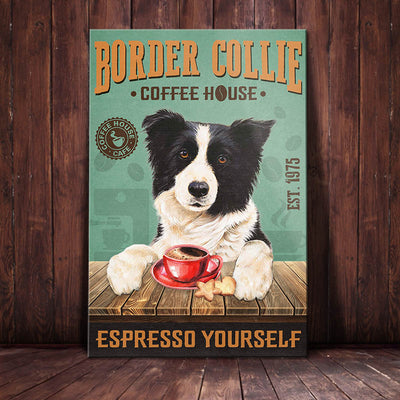 Border Collie Dog Coffee House Canvas MR1802 67O42