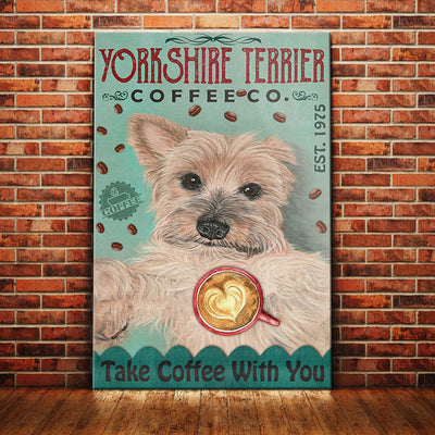 Yorkshire Terrier Dog Coffee Company Canvas MR1104 67O50