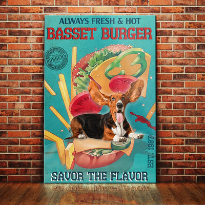 Basset Hound Dog Burger Company Canvas FB2601 90O47