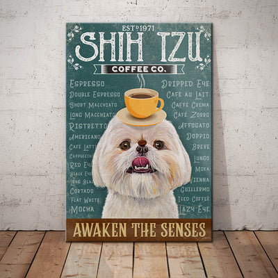 Shih Tzu Dog Coffee Company Canvas FB2702 70O42