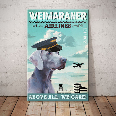Weimaraner Dog Airlines Canvas FB2503 78O31