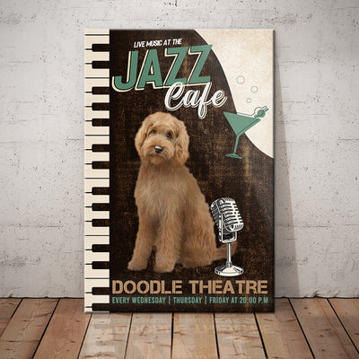 Goldendoodle Dog Jazz Cafe Canvas FB2701 67O31