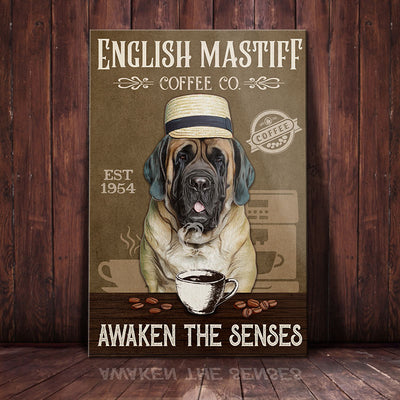 English Mastiff Dog Coffee Company Canvas FB2505 69O35