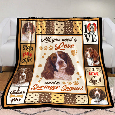 Springer Spaniel Dog Fleece Blanket MR0501 68O50
