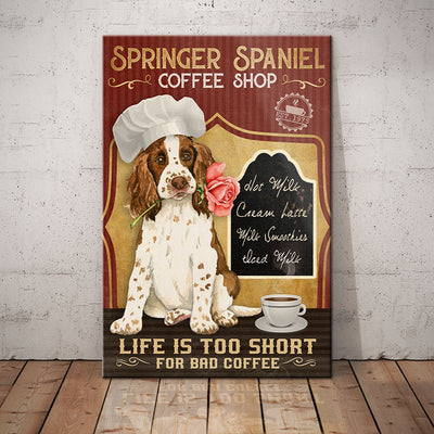 Springer Spaniel Dog Coffee Shop Canvas FB2602 90O47