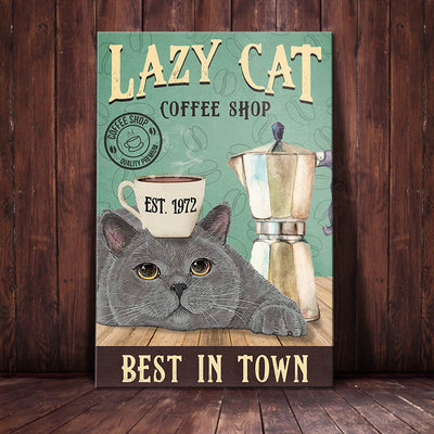 British Shorthair Cat Coffee Company Canvas FB1103 95O42