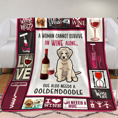 Wine and Goldendoodle Fleece Blanket A2402 87O34