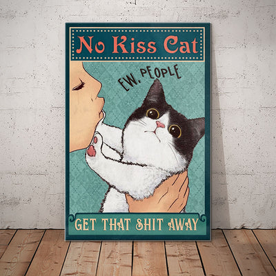 Tuxedo Cat No Kiss Canvas MR1802 81O50