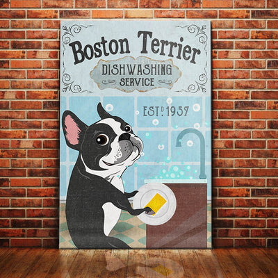Boston Terrier Dog Dishwashing Service Canvas FB1902 85O36