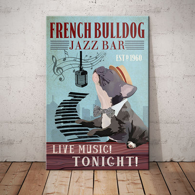 French Bulldog Jazz Bar Canvas MR0501 67O39
