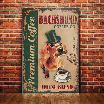 Dachshund Dog Coffee Company Canvas FB2104 90O49