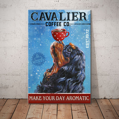 Cavalier King Charles Spaniel Dog Coffee Company Canvas FB1901 90O50