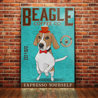 Beagle Dog Coffee Company Canvas FB2501 67O36