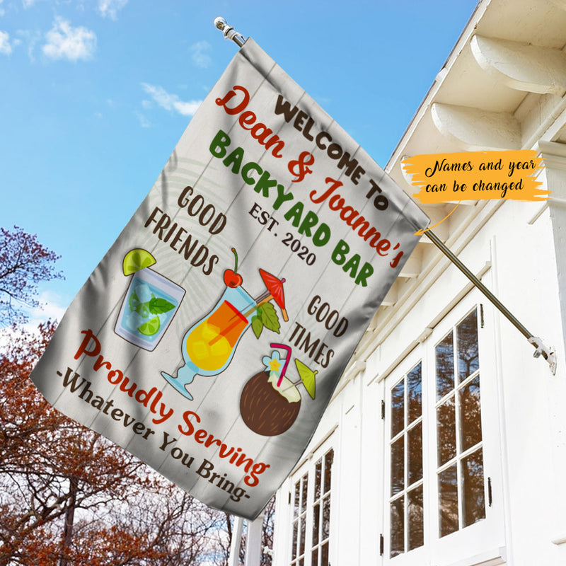 Personalized Backyard Bar Gardening Proudly Serving Flag Ag71 30o47 Famvibe Store