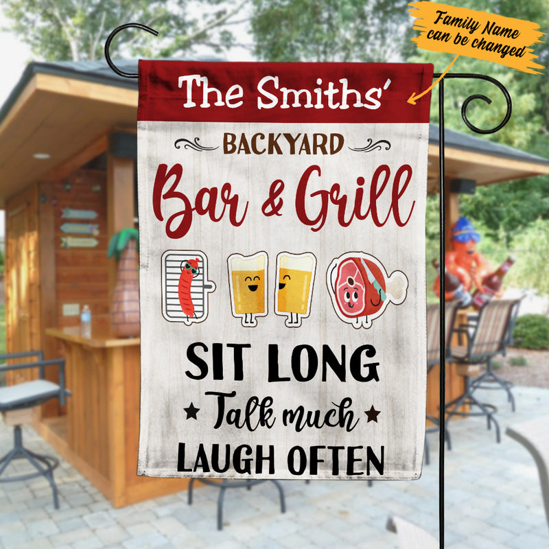 Personalized Backyard Bar And Grill Gardening Flag Ag123 65o57 Famvibe Store