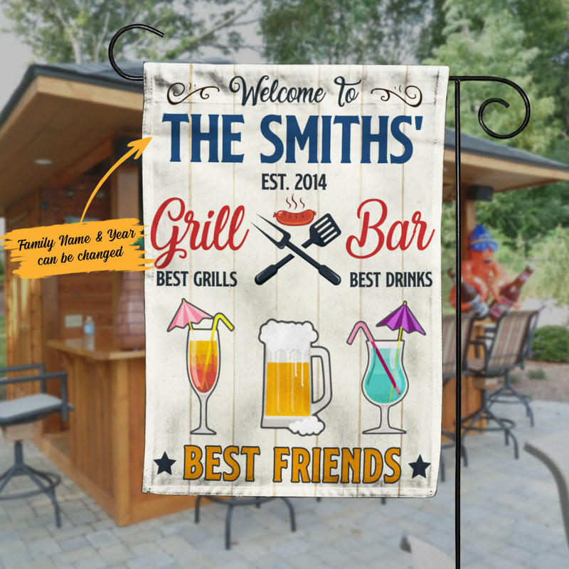 Personalized Backyard Bar And Grill Gardening Flag Ag123 73o58 Famvibe Store