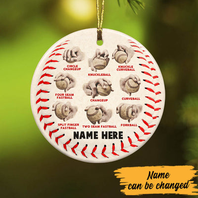 Personalized Baseball Pitching Grips Ceramic Ornament OB314 87O60