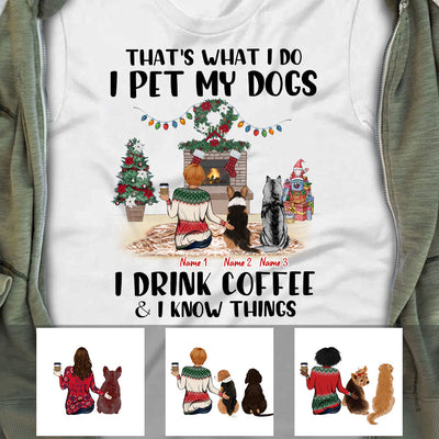 Personalized Coffee Dog Girl Christmas T Shirt NB42 95O53
