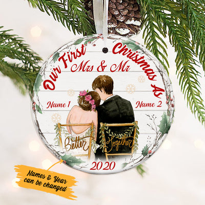Personalized First Christmas Wedding Couple  Ornament OB51 65O34