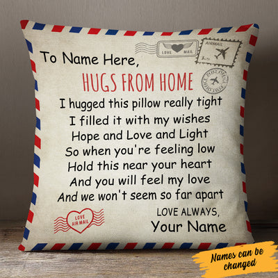 Personalized Hugs From Home Long Distance Canvas Pillow SB295 85O34 (Insert Included)