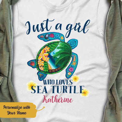 Personalized Sea Turtle Women White  T Shirt JN164 65O58