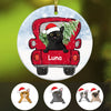 Personalized Cat Red Truck Christmas 2020 Ceramic Ornament OB202 81O34