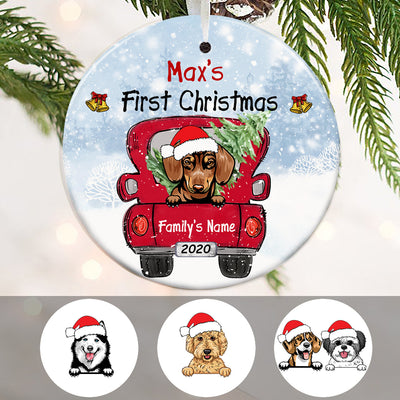 Personalized Dog First Christmas Red Truck  Ornament OB221 81O34