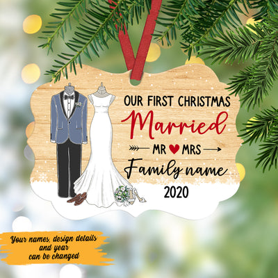 Personalized Our First Christmas Married  MDF Ornament NB31 67O47