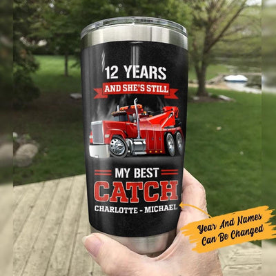 Personalized Tow Truck Husband & Wife Steel Tumbler JN222 87O47