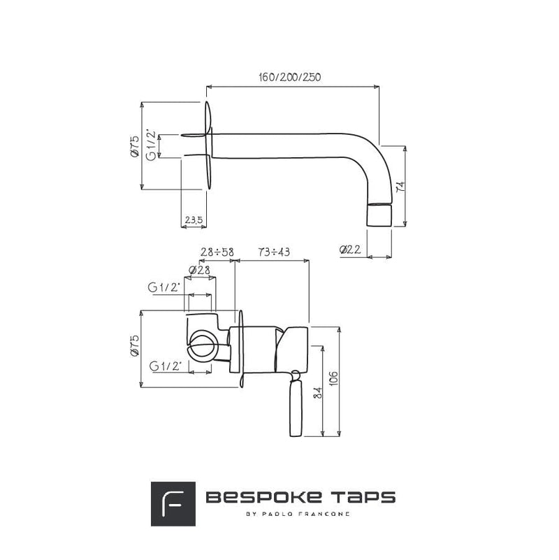 BT65 Modern wall mounted mixer tap