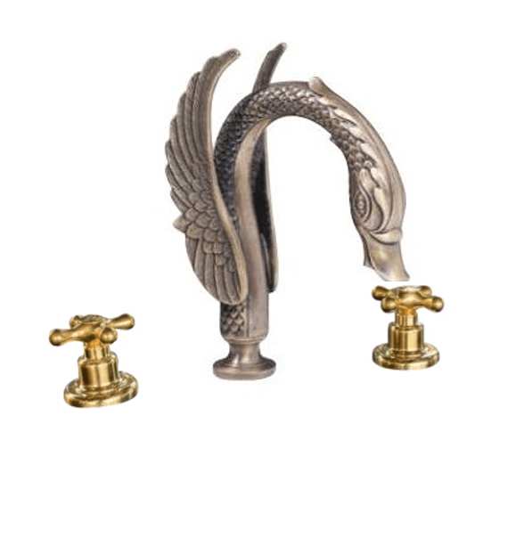 BT80 Solid brass deck mounted taps with swan