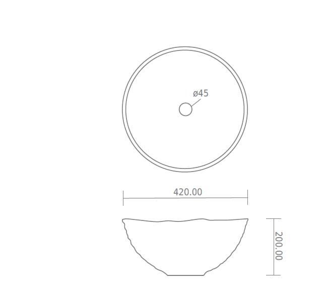 BTB8 Terracotta round basin 420mm