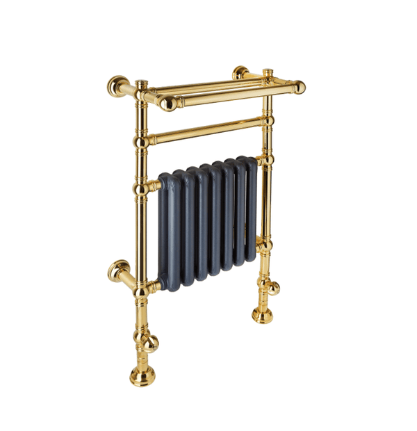 BTR12 Floor and wall mounted heated towel rail in solid brass