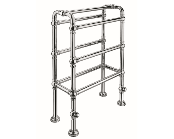 BTR7 Floor mounted heated towel rail in solid brass