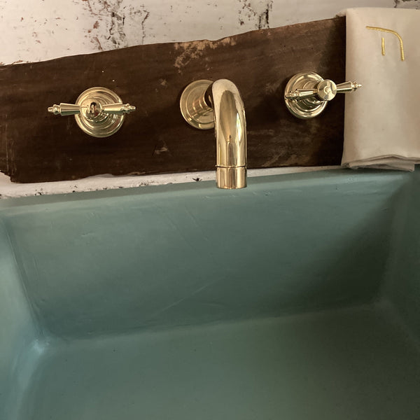 BT68 3 hole wall mounted taps with handcrafted Edwardian handles