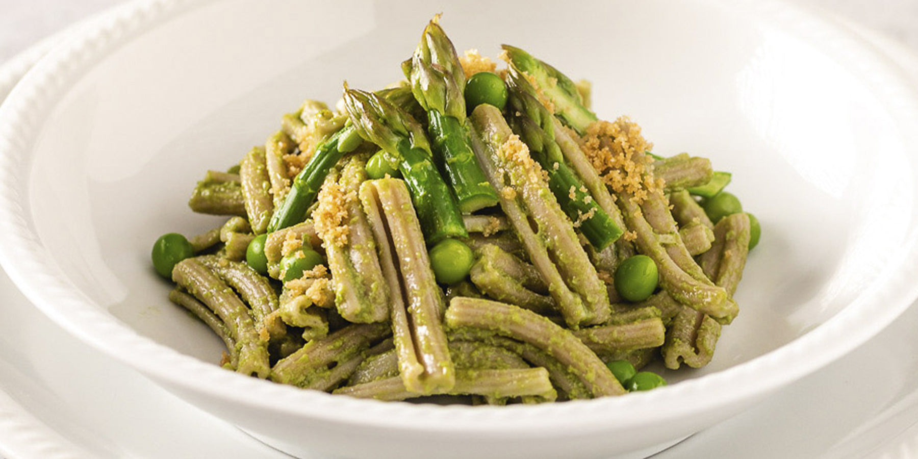 Sorghum Casarecce with Peas, Asparagus and Garlic Breadcrumbs