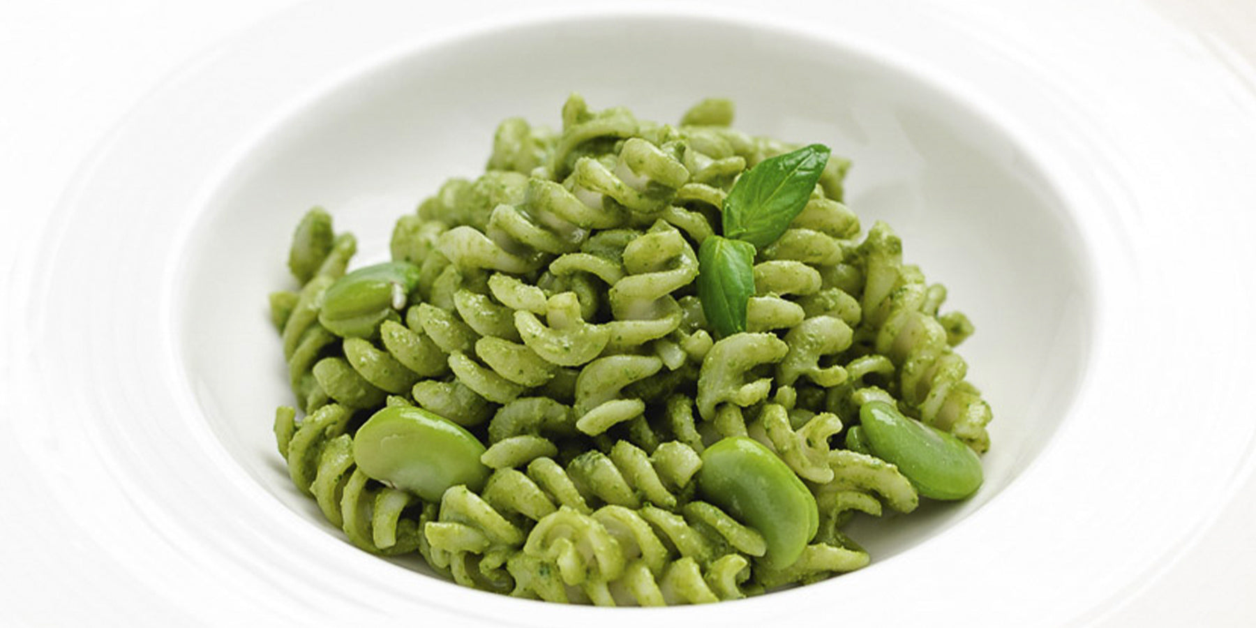 White Corn Fusilli with a Fava Bean and Basil Cream