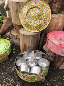 Indian Spice Tins (Masala Dabba) - Yellow with Lilac & Pink Flowers