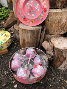 Indian Spice Tins (Masala Dabba) - Pink with Flowers