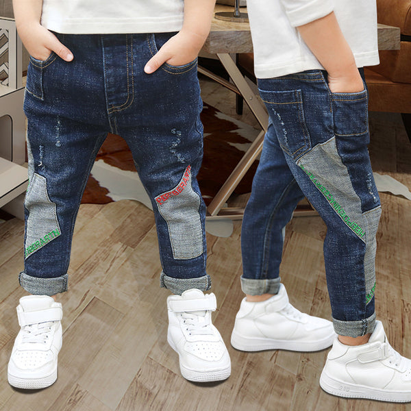 Kids Jeans for Boys Fashion Splice Denim Trousers