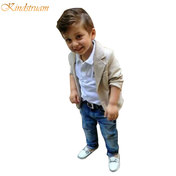 Boys Clothing Sets 3 Pieces Blazer + T Shirt + Jeans European Style
