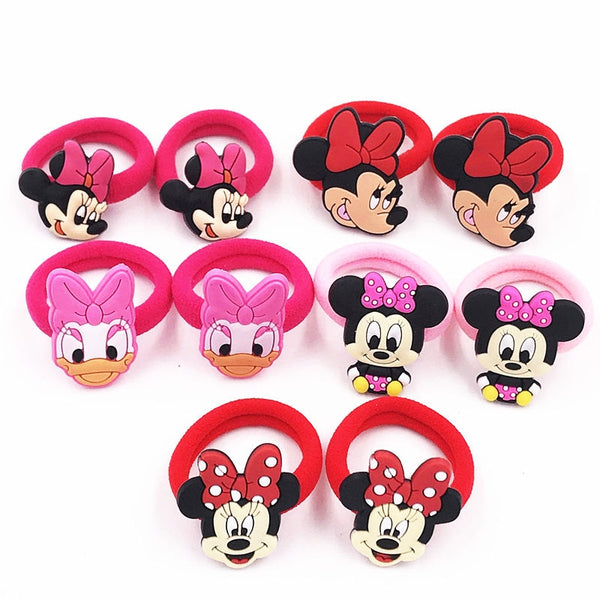 10PCS Nylon Mickey Minnie Daisy Elastic Hair Rubber Band
