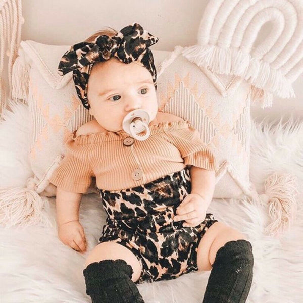 Newborn Infant Baby Girls Leopard Clothes Set Knitted Ruffles Tops