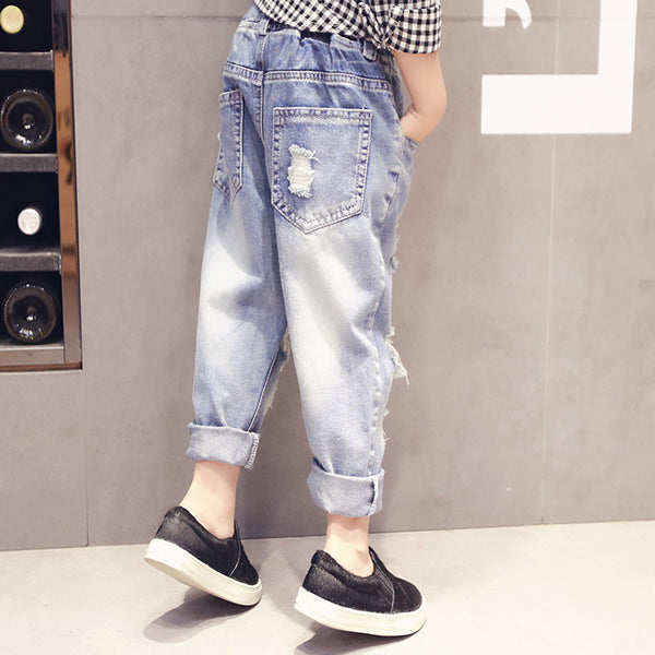 Kids Ripped Hole Jeans Toddler Clothing Fashion Children Broken Denim