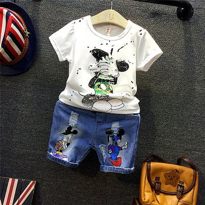 Baby Boys Sports casual Suit Cartoon boy T-shirt +Hole shorts
