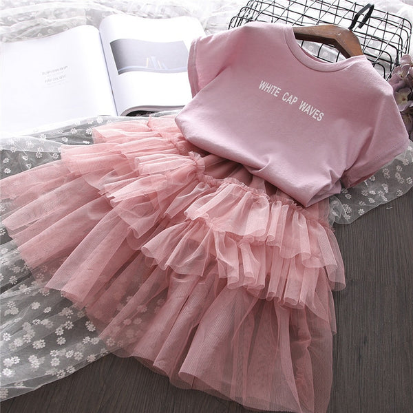 Summer Shirt and Tutu Skirt Clothing Set for Kids