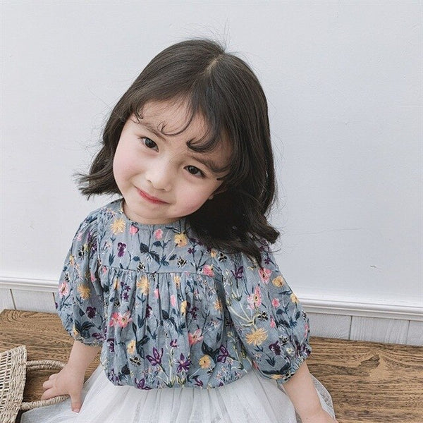 Flower Printed Blouse Collection Kids Summer Dresses