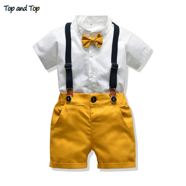 Newborn Boy Clothes Shorts Sleeve Tops+Overalls 2PCS Outfits