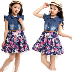 Girl Short Sleeve Jeans Floral Chiffon Dress Girl Dress